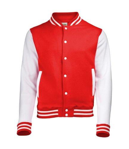 Awdis Unisex Varsity Jacket Small Fire Red/White