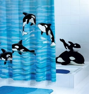 Amazon Ridder Whale Orca PVC Free Shower Curtain For Kids