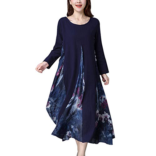 Zainafacai Womens Casual Boho Cotton Linen Maxi Long Dress Loose Beach Kaftan-Plus Size (Navy 2, ()