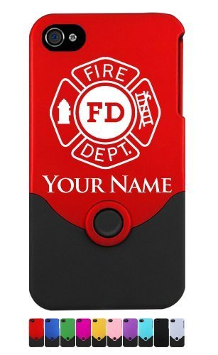 Personalized Engraved Fire Department Symbol, Fireman, Firefighter Case for iPhone 4/4S - Add your Name for Free