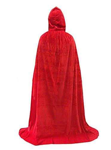 Unisex Full Length Velvet Hooded Cape Halloween Costume Cloak,Red (Hooded Velvet Unisex Cloak)