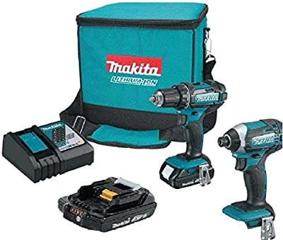 Driver Cordless Drill 18-Volts and Impact Driver Combo Kit (2-Power Tool) with Accessories. Set Includes (2Ah Lithium-Ion Batteries + Charger + Carry Bag). Handyman Rechargeable Hand Tools for Use Las