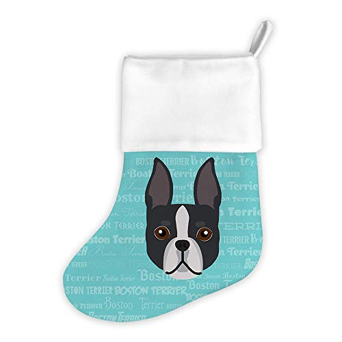 Terrier Holiday Stocking - Mystic Sloth Adorable Dog Breed Specific Christmas Holiday Stocking (Boston Terrier)