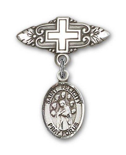 Icecarats Créatrice De Bijoux En Argent Sterling St. Félicité Broche De Badge Charme Avec Une Croix X 3/4