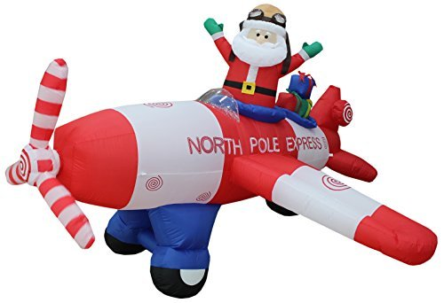 Animated - 8 Foot Wide Christmas Inflatable Santa Claus Flying Airplane Blow Up Yard Decoration by BZB Goods