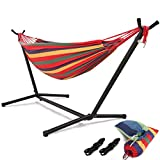 HONGJUN Double Hammock with Steel Stand - Space Saving 2 Person Adjustable and Portable Stand Hammocks,450 Pounds Capacity(Red Stripe)