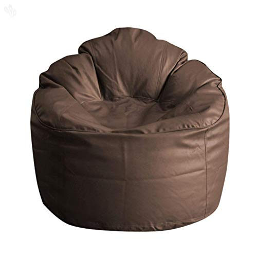 Cozy Signature Comfort Bean Bag Cover Without Bean Brown Leather Large Sofa Chair Soft & Comfortable Sitting Bean ()