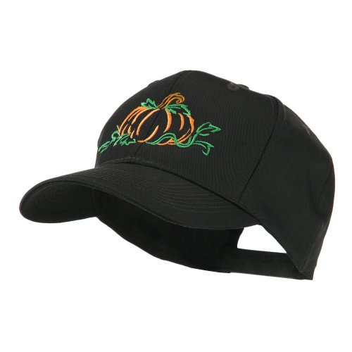 Halloween Pumpkin Outline Embroidered Cap - Black OSFM