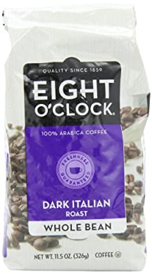 Eight O'Clock Coffee, Dark Italian Roast Whole Bean, 11.5-Ounce Bag (Pack of 4)