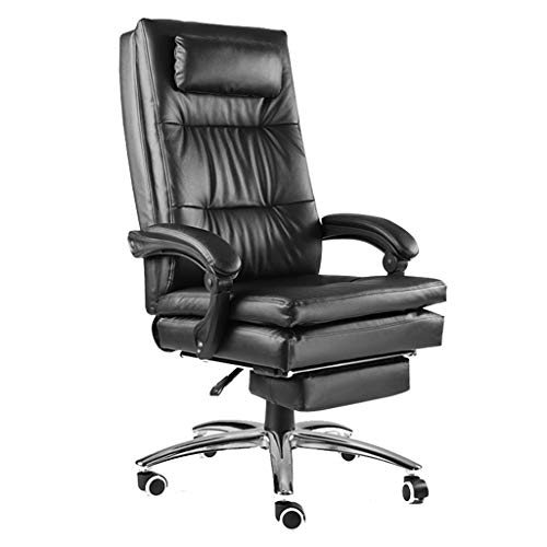 Fubas- Leather High Back Reclining Office Chair, Executive PU Boss Chair, with Headrest/Built-in Spring Cushion, High Load Capacity (Multi-Color Optional)