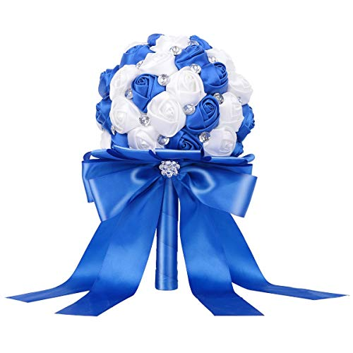 TRUE LOVE GIFT Wedding Bride Bouquet, Royal Blue and White Bridal Bouquets for Wedding Handmade Crystal Satin, Artificial Rose Wedding Holding Flowers for Wedding, Engagement Decor