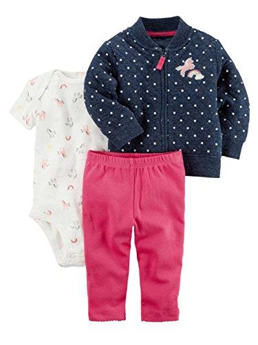 Carter's Baby Girls' 3 Piece Rainbow Print Little Jacket Set 6 Months (Washable Pants Womens Velvet)