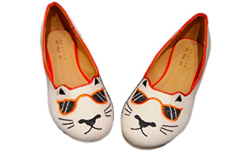 Polka Dot Fabric Flats - Hot Polka Dot Women's Chill Cat Canvas Ballet Flats, US 10