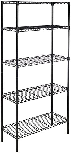 Amazon Basics 5-Shelf Adjustable, Heavy Duty Storage Shelving Unit (350 lbs loading capability consistent with shelf), Steel Organizer Wire Rack, Black,(36L x 14W x 72H)