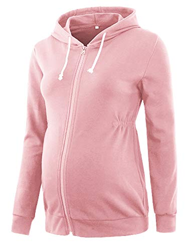 Glampunch Womens Maternity Tops Long Sleeve Cinched-Waist Hoodie Pregnancy Clothes Pink