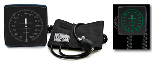 Pivit Wall Mount Aneroid Sphygmomanometer Blood Pressure Monitor | Latex Free | Large Easy-To-Read Gauge Glow In The Dark Dial | Swivel Or Remove From Pivoting Mounting Bracket | Built-In Cuff Storage