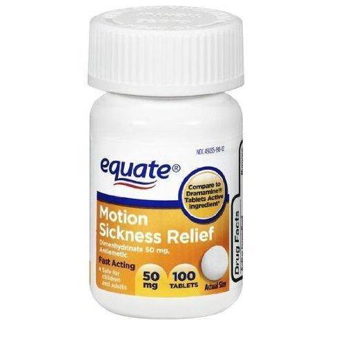 Equate - Motion Sickness 50 mg, 100 comprimés Contre les Nausees et Vomissements