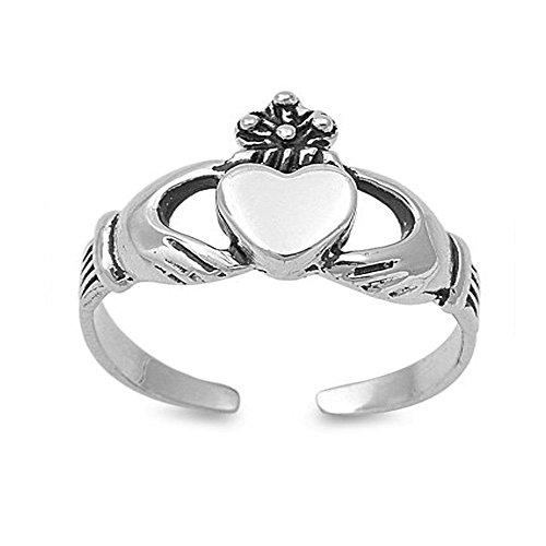 Sterling Silver Stylish Claddagh Toe Ring, Width 6MM (Ring Stylish Toe)