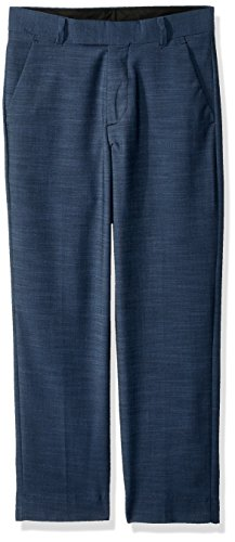 (Calvin Klein Big Boys' Flat Front Dress Pant, Blue Weave, 20)