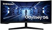 SAMSUNG 34-Inch Odyssey G5 Ultra-Wide Gaming Monitor with 1000R Curved Screen, 165Hz, 1ms, FreeSync Premium, W