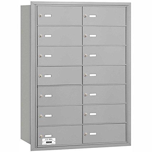 Salsbury Industries 3614ARU 4B Plus Horizontal Mailbox, 14 B Doors, Rear Loading, USPS Access, Aluminum