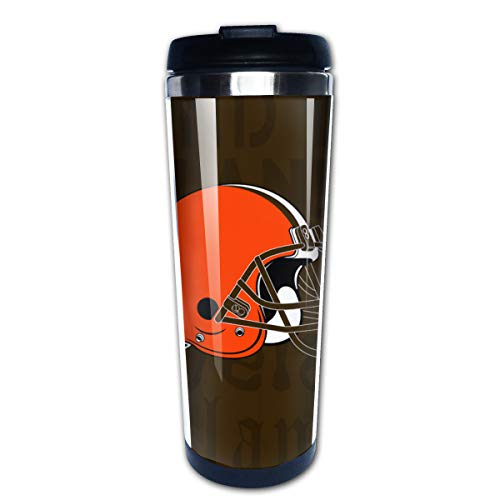 Jacoci Cleveland Browns Double Wall Coffee Mug Vacuum Cup Travel Flask For Hot & Cold Drinks,10oz(400ml)