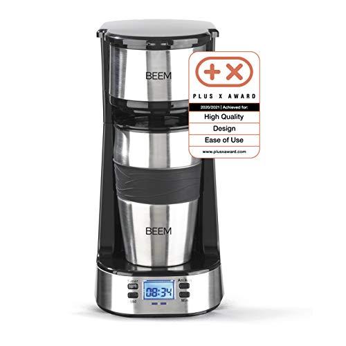 BEEM Thermo 2 Go – Cafetera de filtro individual (térmica, incluye vaso térmico de 0,4 l para llevar y filtro permanente…