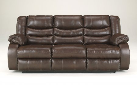 """Ashley Linebacker DuraBlend 9520188 87"""" Reclining Sofa Pillow Top Arms Divided Back Cushions and Detailed Stitching in"""
