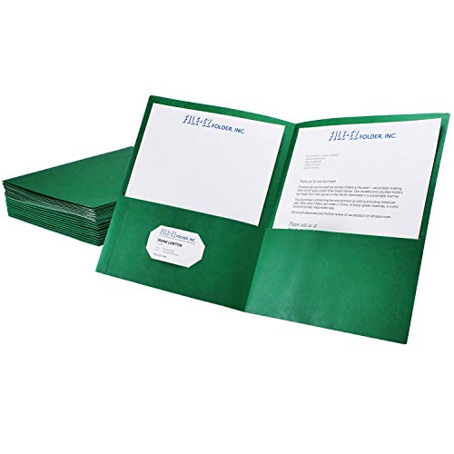 Finish Textured Center (FILE-EZ Two-Pocket Folders, Green, 25-Pack, Textured Paper, Letter Size (EZ-32560))