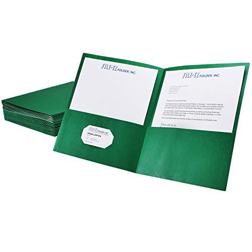 FILE-EZ Two-Pocket Folders, Green, 25-Pack, Textured Paper, Letter Size (EZ-32560)