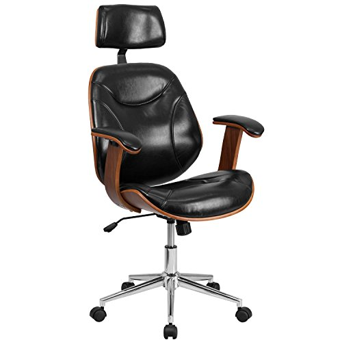 Flash Furniture High Back Black Leather Executive Wood Swivel Chair with Arms ()