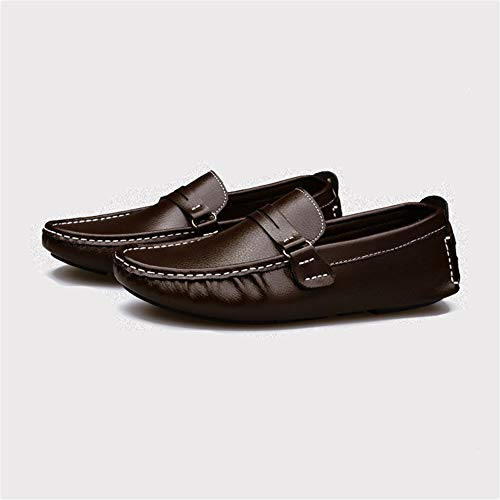 Mocasines Hombre Barcos Cuero Brown Casual De on Slip Confort Para Calzado gommino Mocasín twrqtnzSF