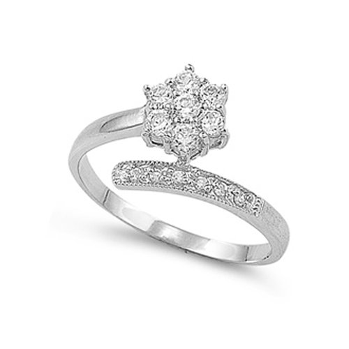 Bypass Ring Flower (Sterling Silver Bypass Cluster Flower Clear CZ Ring - size 4)
