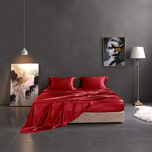 THXSILK Silk Sheet Set 4 Pcs, 19 Momme Silk Bed Sheets, Luxury Bedding Sets -Ultra Soft, Durable-100% Top Grade Mulberry Silk - Full Size, Red (Bedding Silk Quilt)