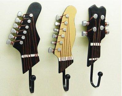 Perchero de 3 ganchos con forma de guitarra, de resina, estilo retro, para colgar toallas y llaves: Amazon.es: Hogar