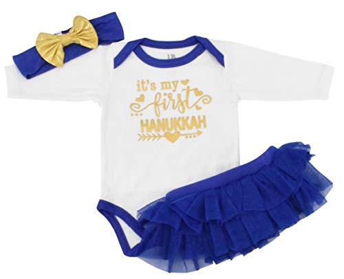 Unique Baby Girls 1st Hanukkah Layette Outfit Tutu Romper Headband (3 Months) White ()