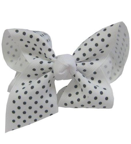 Small Black Polka Dot On White Bow Barrette - Pretty White Bow Barrette With Small Black Polka Dots