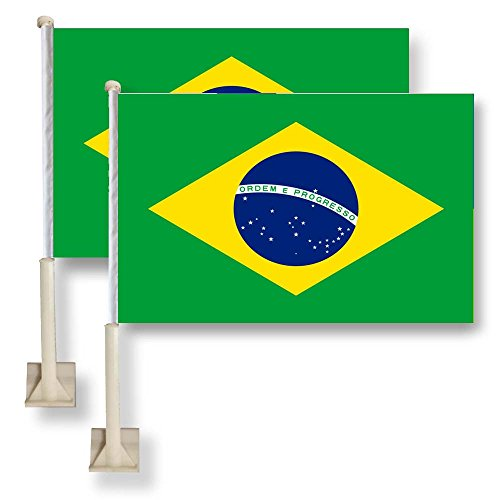 Flag King Brazil Car Window Flag 11X16Inch(28x40cm) 100% Polyester, Strong White Flagpole (Brazil Flag Car)