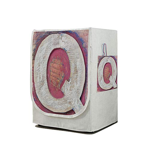 Price comparison product image Washing Machine Cover Waterproof Dust-Proof Front Load Washer & Dryer Cover, Letter Q, Shabby Uppercase Letter Q Alphabet Artwork Wooden Symbol Design Print, Pink Violet Blue White, for Home Decoration