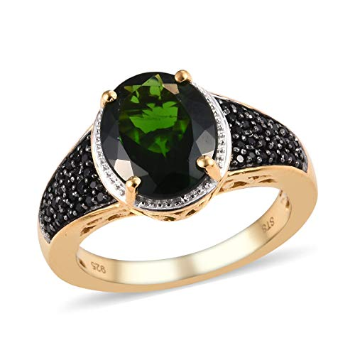 Promise Ring 925 Sterling Silver Vermeil Yellow Gold Chrome Diopside Black Spinel Jewelry for Women Size 8 Ct 3.4