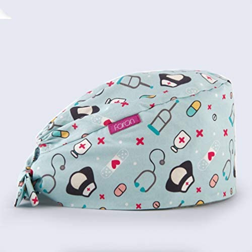 Artibetter 2 Pezzi Di Berretto Chirurgico Medico Infermiere Cappello Bouffant Cotone Ospedale Per Donna Uomo (colori Assortiti)