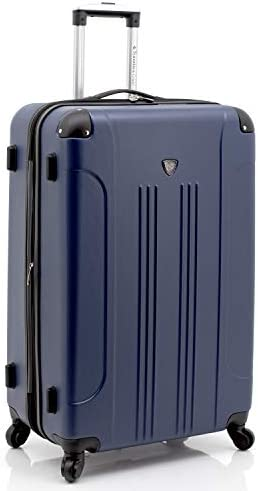 Travelers Club Sky+ Hardside Expandable Luggage Set with Spinner Wheels, Navy Blue, 5 Piece