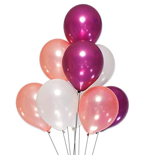 AZOWA White Burgundy Rose Gold Latex Balloons 12 inch Party Decorations Pack of 100 Balloons Great for Birthday Party Baby Shower Wedding Celebrate Decorations from AZOWA