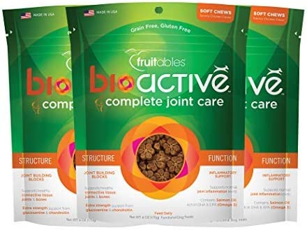Fruitables 6 Ounce Bioactive Complete Joint Care Functional Chewy Treats Pack of 3