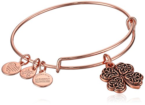 Gold Four Leaf Clover Charm (Alex and Ani Women's Four Leaf Clover Rose Gold Charm Bangle Bracelet, Expandable)