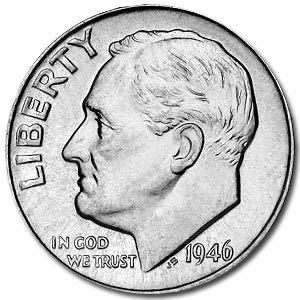 1946 Roosevelt Dime BU Dime Brilliant Uncirculated