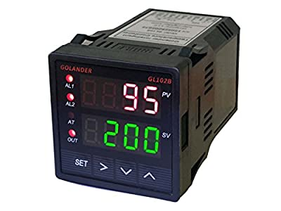 12V/24V DC Powered Universal 1/16DIN PID Temperature Controller, PID, On/off, Manual Control, with 2 Alarm Relays