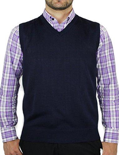 Blue Ocean Solid Color Sweater Vest-3X-Large Navy