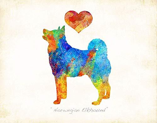 NORWEGIAN ELKHOUND Dog Breed Art Print by Dan Morris