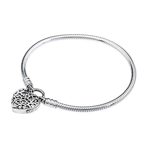 - Pandora Smooth Regal Heart Padlock Silver Bracelet 597602-23